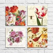 Kit Quadros Decorativos Flores Vintage 4 peças M8