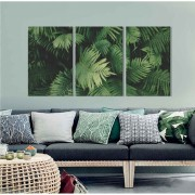 Kit Quadros Decorativos Folhas Verdes