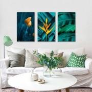 Kit Quadros Decorativos Folhas Verdes Com Flores