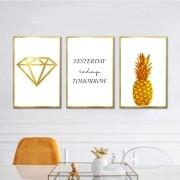Kit Quadros Decorativos Frases Douradas