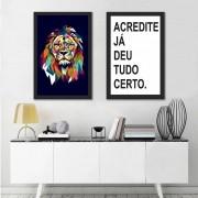 Kit Quadros Decorativos Frases Leão