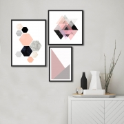Kit Quadros Decorativos Geométricos Rosa