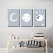 Kit Quadros Decorativos Lua Infantil