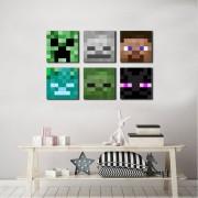Kit quadros Decorativos Minecraft Mobs