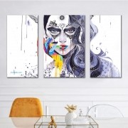 Kit Quadros Decorativos Mulher Abstrata M2