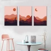 Kit Quadros Decorativos Paisagem Minimalista Montanhas