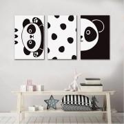 Kit Quadros Decorativos Panda Infantil