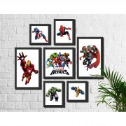 Kit 7 Quadros Decorativos Super Heróis Marvel