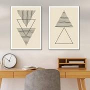 Kit Quadros Decorativos Triângulos Minimalistas