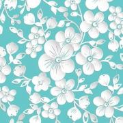 Papel parede floral 3d  rolo Azul