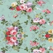 papel parede floral  rosas com fundo turquesa 2,50 x 60