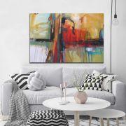 Quadro Abstrato colorido sala escritório arte tela canvas