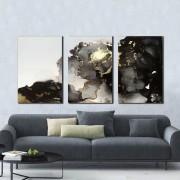 Quadro Abstrato Decorativo Mármore Cinza