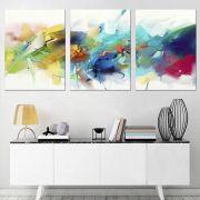 Quadro abstrato decorativo colorido moderno sala 3 peças