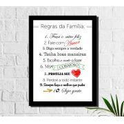Quadro Decorativo 10 Regras da Família 1 peça