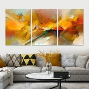 Quadro Decorativo Abstrato Amarelo Moderno