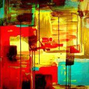 Quadro Decorativo Abstrato Colorido Amarelo 1 peça 100X100