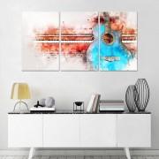 Quadro Decorativo Abstrato de Violão e Pianista