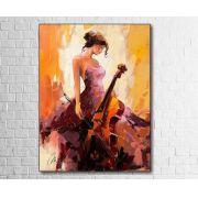 Quadro Decorativo Abstrato Musicista com Violoncelo 1 peça