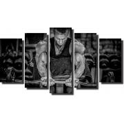 Quadro Decorativo Academia Esporte Musculação 5 peças