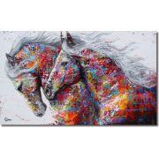 Quadro Decorativo Animais Cavalos Abstratos Colorido 1 peça
