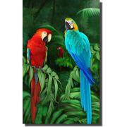 Quadro Decorativo Arara Azul e Vermelha 1 peça