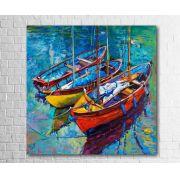 Quadro Decorativo Barcos Colorido 1 peça