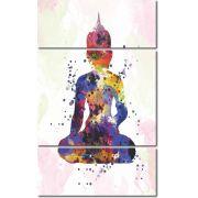 Quadro Decorativo Buda colorido 3 peças
