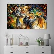 Quadro Decorativo Casal de Tigre Espatulado