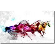 Quadro Decorativo Cavalo branco colorido para sala 1 peça