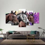 Quadro Decorativo  Cavalos com fundo Colorido Para Sala 5 peças