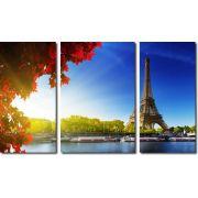 Quadro Decorativo Cidade Paris 3 Peças