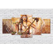Quadro Decorativo Deusa Themis Justiça 5 peças 160x80