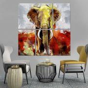 Quadro Decorativo Elefante Colorido Moderno