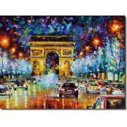 Quadro Decorativo Espatulado Carros Arco Do Triunfo Paris