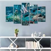 Quadro Decorativo Filme Aquamen Para Quartos E Salas 5 Peças