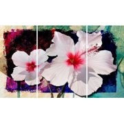 Quadro Decorativo Flor Branca para sala 3 peças