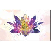 Quadro Decorativo Flor de lotus colorida 2 peças
