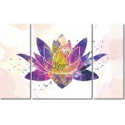 Quadro Decorativo Flor de lotus colorida 3 peças