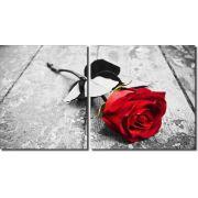 Quadro Decorativo Flor Rosa Vermelha 2 peças