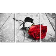 Quadro Decorativo Flor Rosa Vermelha 3 peças