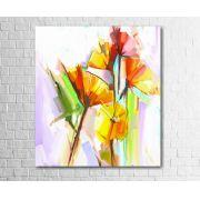 Quadro Decorativo Flores Abstratas Coloridas 1 Peça