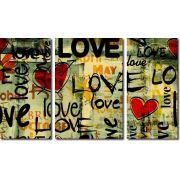 Quadro Decorativo Frases Love 3 Peças