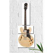 Quadro Decorativo Guitarra Bege 3 peças