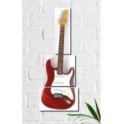 Quadro Decorativo Guitarra Vermelha 3 peças