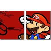 Quadro Decorativo Jogo Super Mario Fundo Vermelho 2 Peças