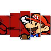 Quadro Decorativo Jogo Super Mario Fundo Vermelho 5 Peças
