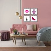 Quadro Decorativo Kit Beleza Para Sala E Quarto 4 Peças
