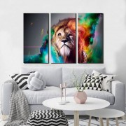 Quadro Decorativo Leão Colorido 3 Peças