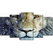 Quadro Decorativo Leão Com Olhar 5 peças